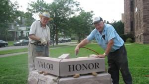 Bill Menz (L) and John Fuller (R) assembling the monument, 2008