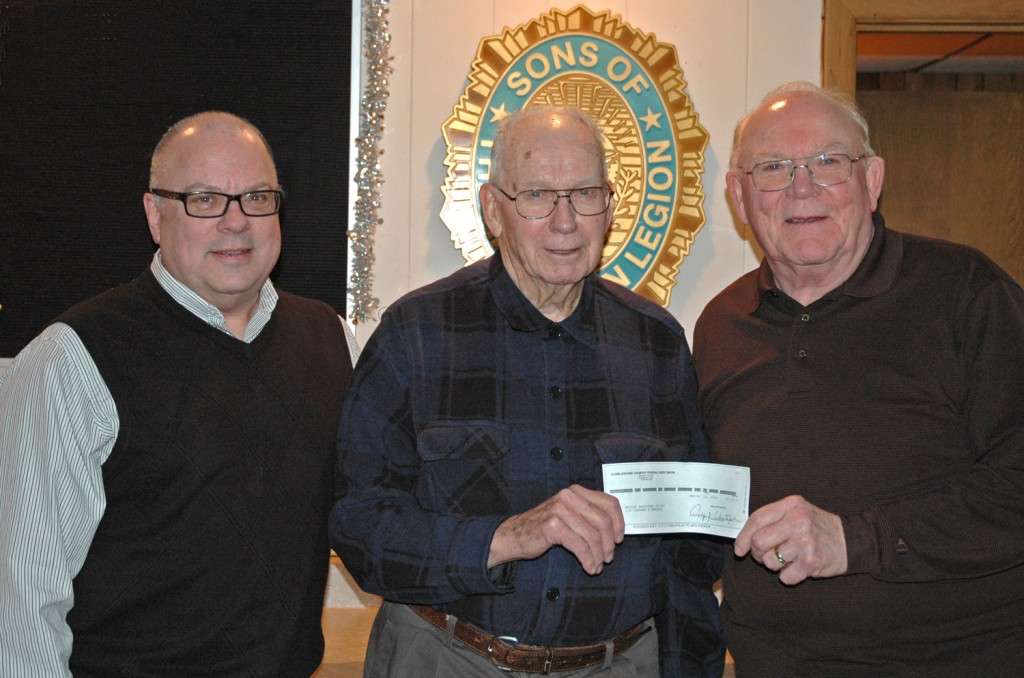 Sons of the American Legion 204 present generous check for Company F Memorial statue, 3/23/16