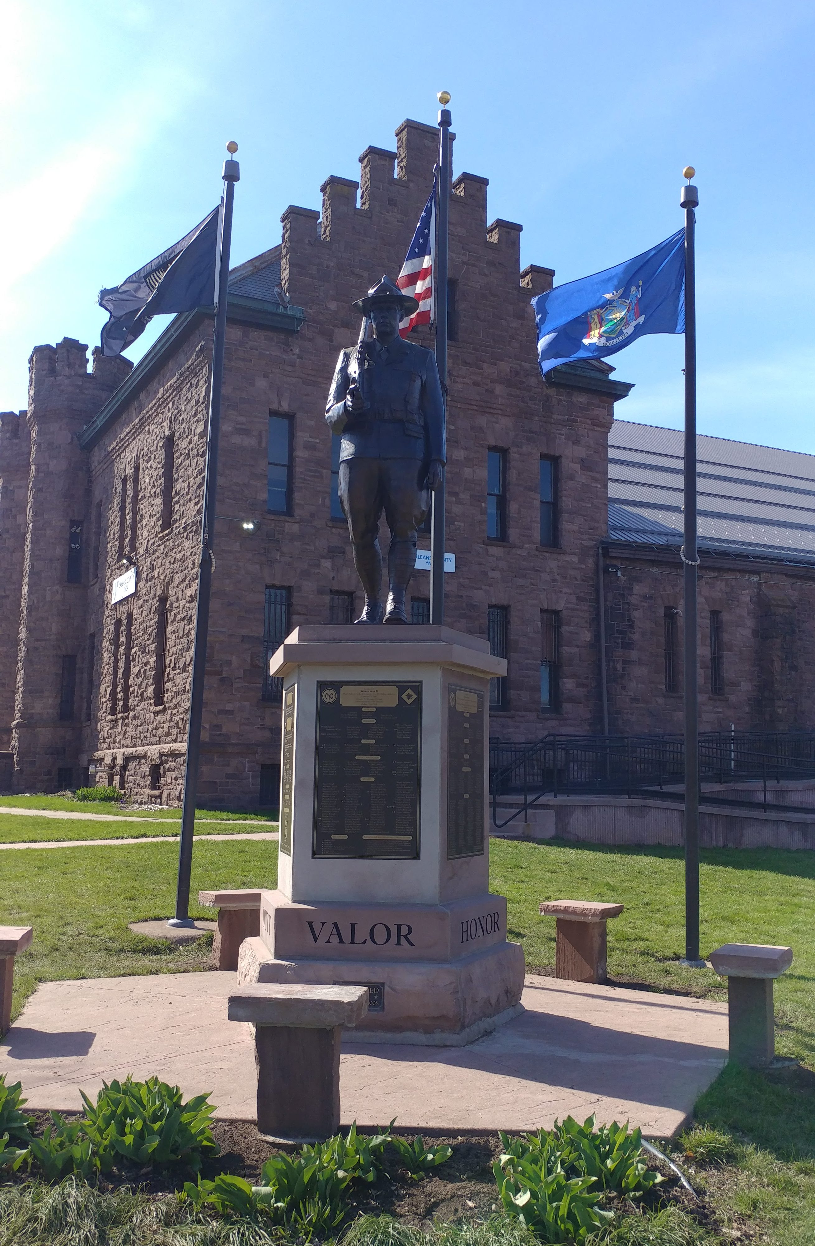 Co F Monument with new bronze statue, benches and 3rd flag pole